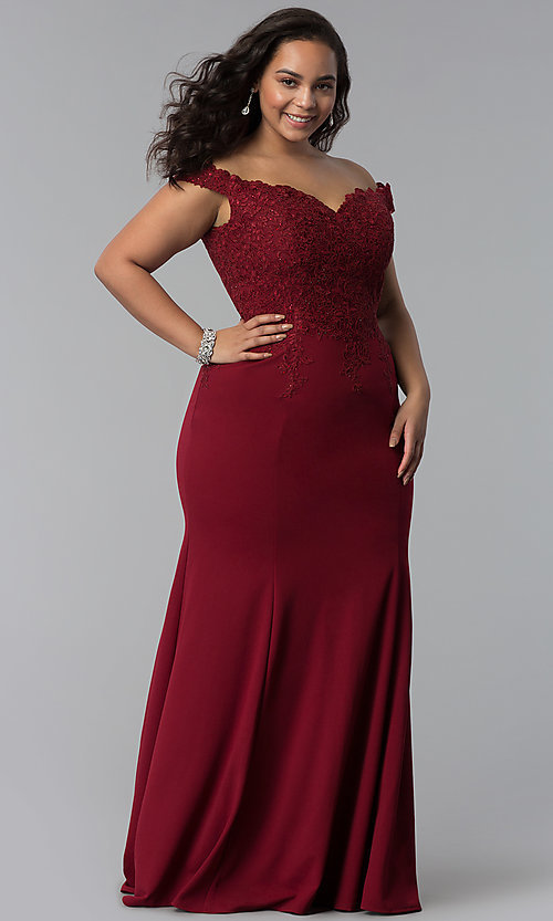 Image of off-shoulder long plus-size prom dress with lace. Style: DQ-2358P Front Image