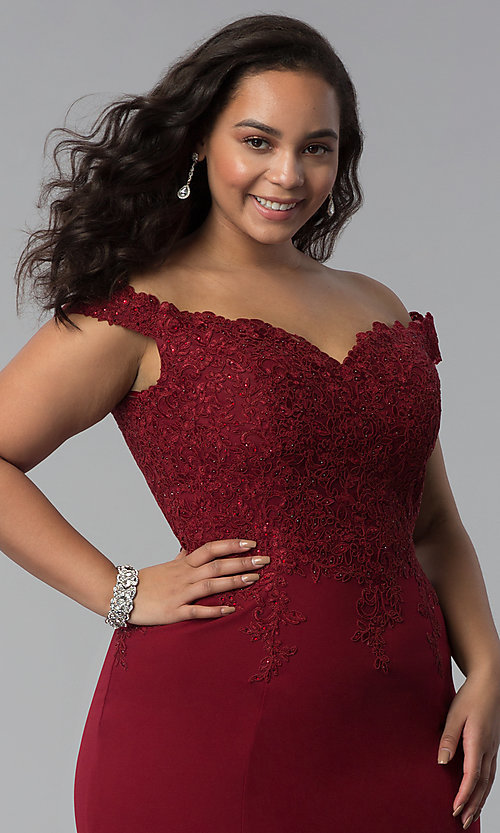Image of off-shoulder long plus-size prom dress with lace. Style: DQ-2358P Detail Image 5