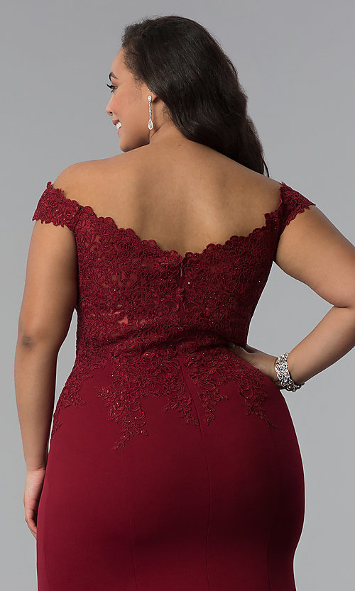 Image of off-shoulder long plus-size prom dress with lace. Style: DQ-2358P Detail Image 6