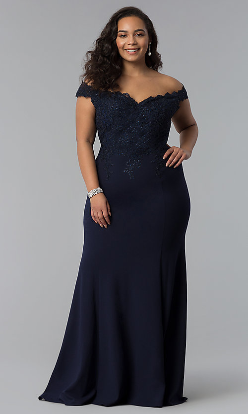 Off The Shoulder Long Plus Size Prom Dress Promgirl