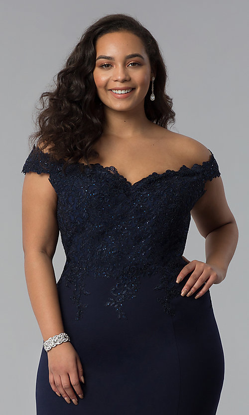 Image of off-shoulder long plus-size prom dress with lace. Style: DQ-2358P Detail Image 1