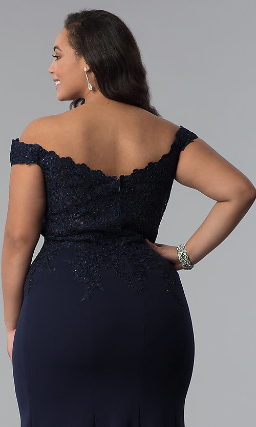 Image of off-shoulder long plus-size prom dress with lace. Style: DQ-2358P Detail Image 2