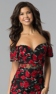 Image of black embroidered short off-the-shoulder party dress. Style: SOI-PL-S17076 Detail Image 1