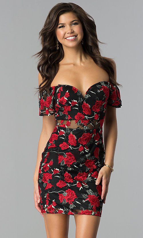 Image of black embroidered short off-the-shoulder party dress. Style: SOI-PL-S17076 Front Image