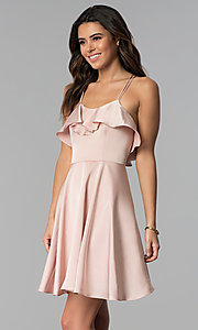 Image of multi-strap short wedding guest party dress. Style: MT-8921 Detail Image 1