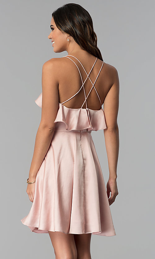 Image of multi-strap short wedding guest party dress. Style: MT-8921 Back Image