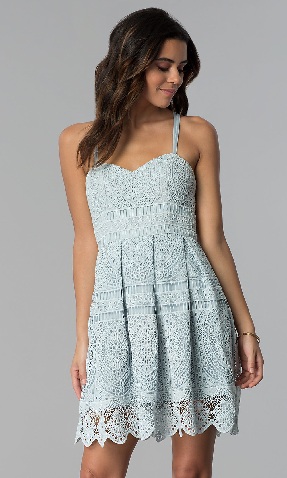 Lace Sweetheart Graduation Short Party Dress - PromGirl