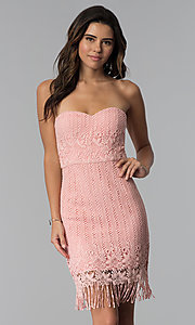 Image of short pink strapless lace wedding-guest dress. Style: MT-9115 Front Image