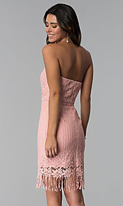 Image of short pink strapless lace wedding-guest dress. Style: MT-9115 Back Image