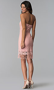 Image of short pink strapless lace wedding-guest dress. Style: MT-9115 Detail Image 3