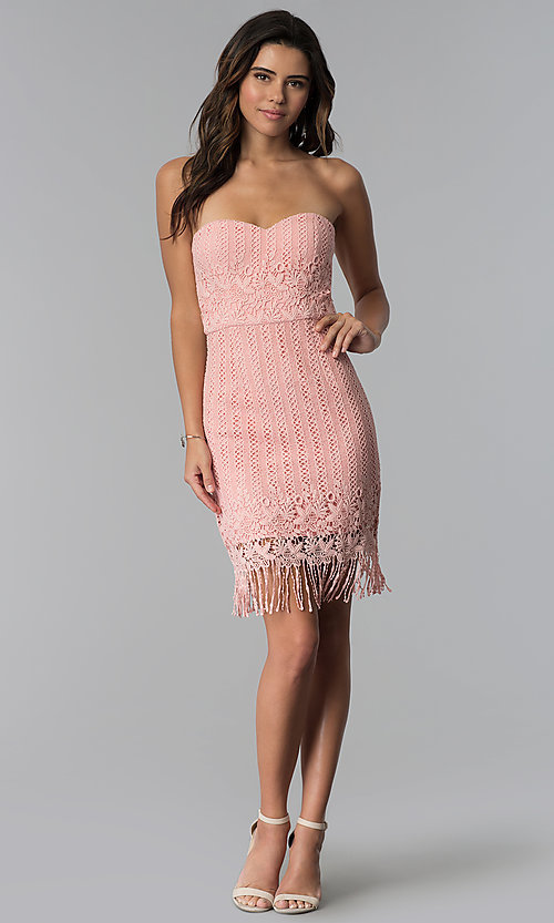 Image of short pink strapless lace wedding-guest dress. Style: MT-9115 Detail Image 2