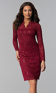Image of knee-length lace wedding-guest dress with sequins. Style: MCR-2525 Detail Image 1