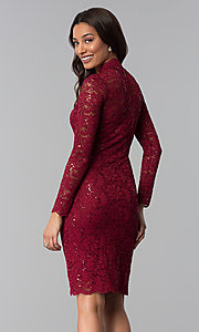 Image of knee-length lace wedding-guest dress with sequins. Style: MCR-2525 Back Image