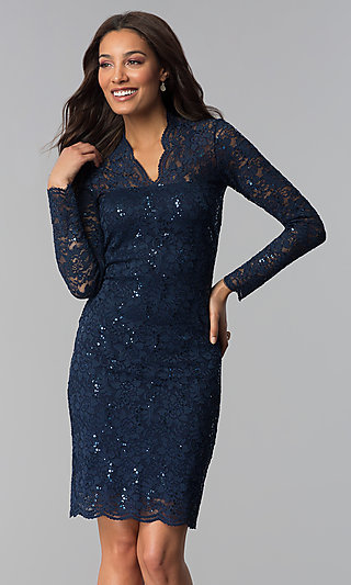 Knee-Length Lace Wedding-Guest Dress with Sequins