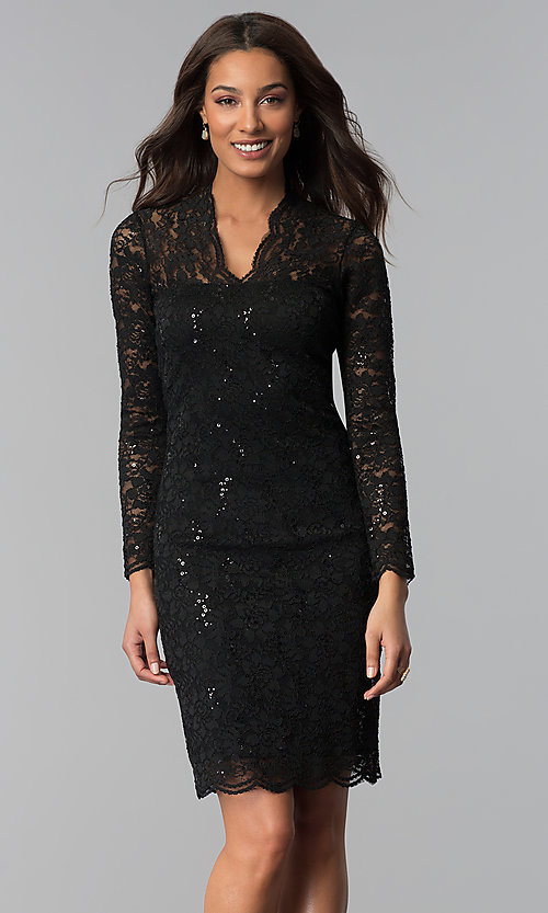 Image of knee-length lace wedding-guest dress with sequins. Style: MCR-2525 Detail Image 3