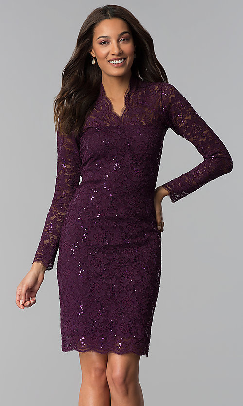 Image of knee-length lace wedding-guest dress with sequins. Style: MCR-2525 Detail Image 2