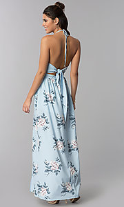 Image of floral-print blue halter-style maxi casual dress. Style: LT-LD50280H Back Image
