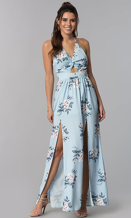 Image of floral-print blue halter-style maxi casual dress. Style: LT-LD50280H Front Image
