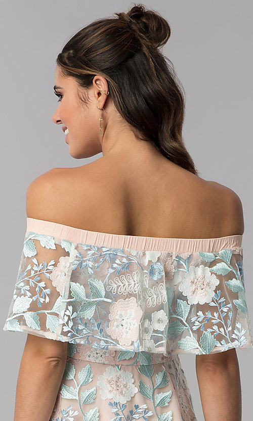 Image of short floral-embroidered off-shoulder party dress. Style: LT-LD50378H Detail Image 2