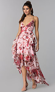 Image of chiffon floral-print high-low v-neck party dress. Style: LT-LD50330M Front Image