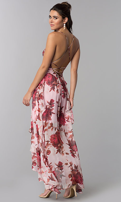 Image of chiffon floral-print high-low v-neck party dress. Style: LT-LD50330M Back Image