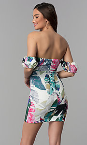 Image of leaf-print off-the-shoulder short party dress. Style: LT-LD50371N Back Image