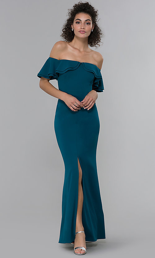 Image of formal spruce blue off-shoulder ruffled-neck dress. Style: MO-21692 Front Image