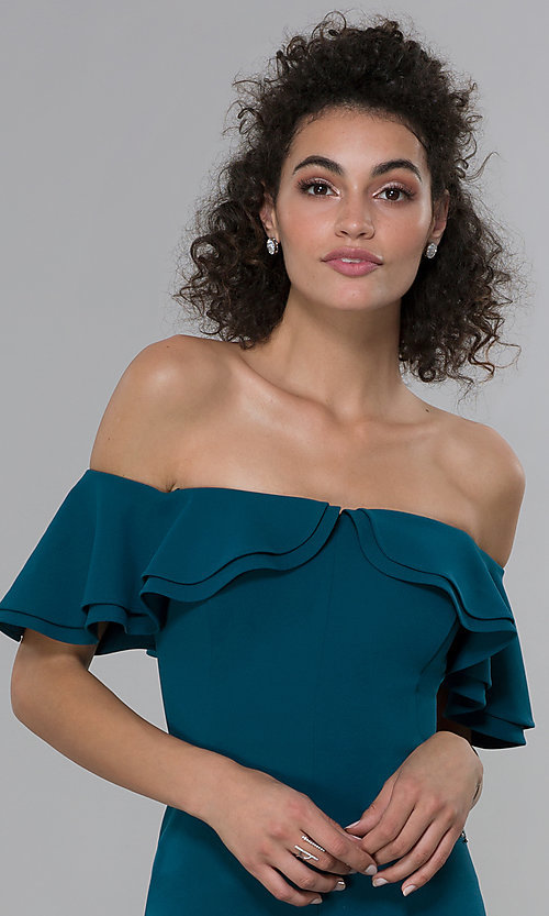 Image of formal spruce blue off-shoulder ruffled-neck dress. Style: MO-21692 Detail Image 1