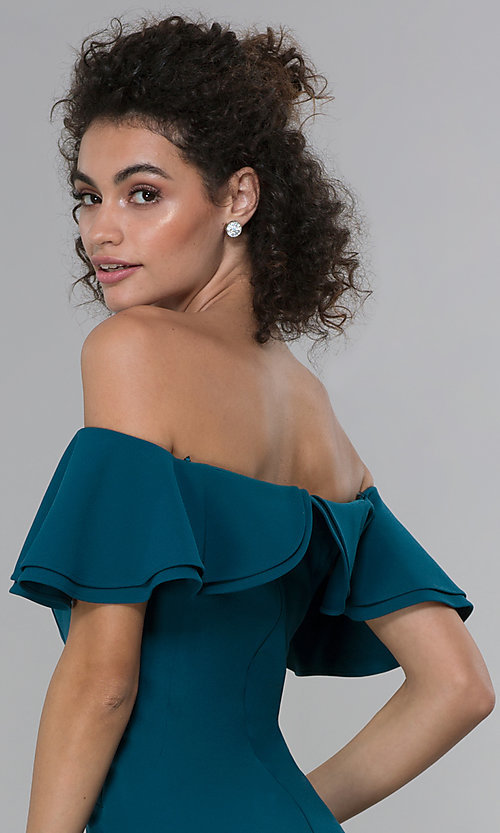 Image of formal spruce blue off-shoulder ruffled-neck dress. Style: MO-21692 Detail Image 2