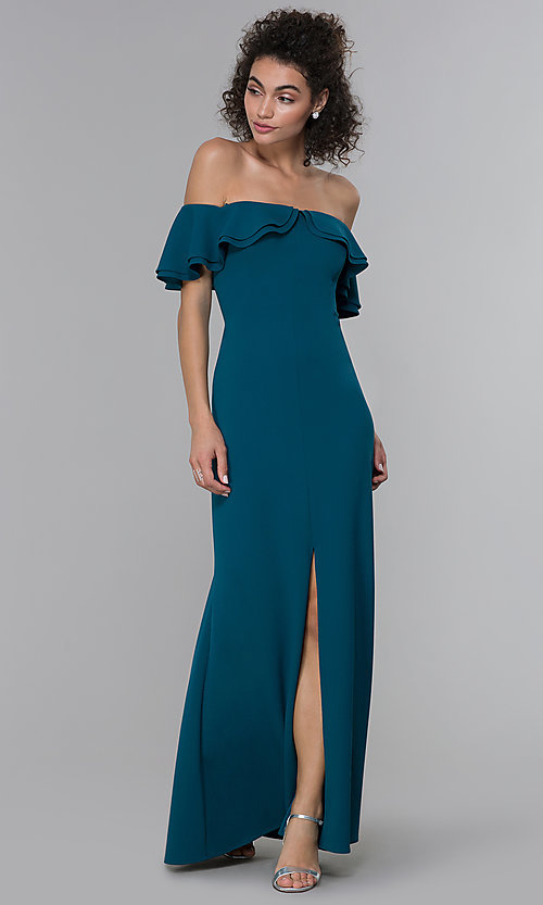Image of formal spruce blue off-shoulder ruffled-neck dress. Style: MO-21692 Detail Image 3