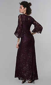 Image of long sequin-lace 3/4-bell-sleeve MOB dress. Style: MO-21669 Back Image