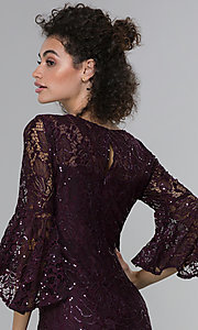 Image of long sequin-lace 3/4-bell-sleeve MOB dress. Style: MO-21669 Detail Image 2
