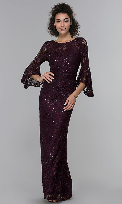 Image of long sequin-lace 3/4-bell-sleeve MOB dress. Style: MO-21669 Front Image