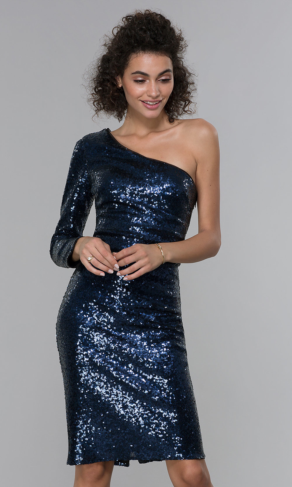 2b8937eb99 Image of navy long-sleeve one-shoulder sequin party dress. Style  MO. Tap  to expand