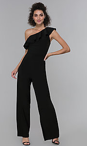 Image of black asymmetrical-ruffled-neck jumpsuit for parties. Style: MO-21672 Front Image