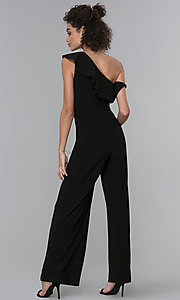 Image of black asymmetrical-ruffled-neck jumpsuit for parties. Style: MO-21672 Back Image