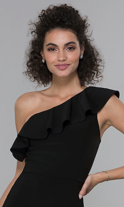 Image of black asymmetrical-ruffled-neck jumpsuit for parties. Style: MO-21672 Detail Image 1