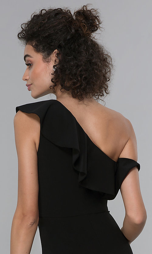 Image of black asymmetrical-ruffled-neck jumpsuit for parties. Style: MO-21672 Detail Image 2