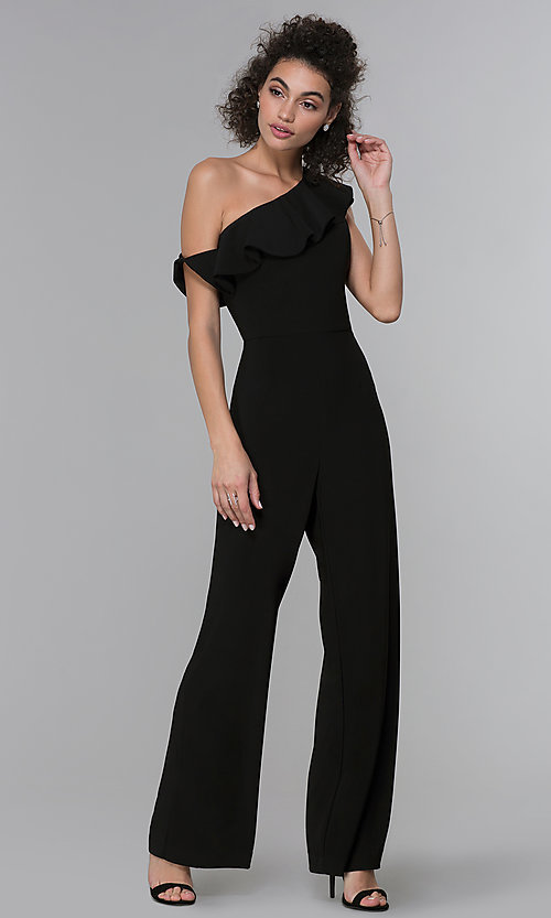 Image of black asymmetrical-ruffled-neck jumpsuit for parties. Style: MO-21672 Detail Image 3