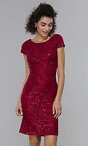 Image of short sheath empire-waist sequin-lace party dress. Style: MO-21659 Front Image