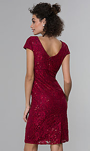 Image of short sheath empire-waist sequin-lace party dress. Style: MO-21659 Back Image