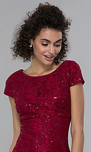 Image of short sheath empire-waist sequin-lace party dress. Style: MO-21659 Detail Image 1