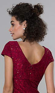 Image of short sheath empire-waist sequin-lace party dress. Style: MO-21659 Detail Image 2