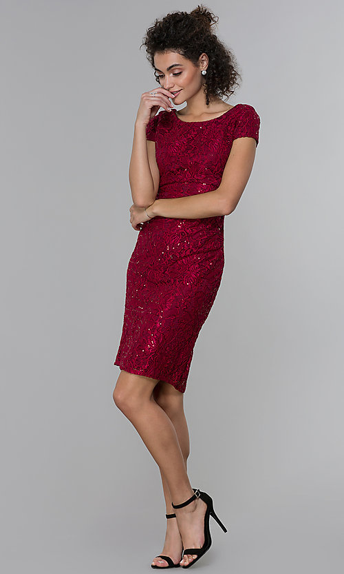 Image of short sheath empire-waist sequin-lace party dress. Style: MO-21659 Detail Image 3