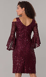 Image of sequin-lace short v-neck 3/4-sleeve party dress. Style: MO-21664 Back Image