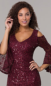 Image of sequin-lace short v-neck 3/4-sleeve party dress. Style: MO-21664 Detail Image 1