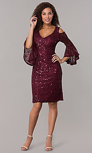 Image of sequin-lace short v-neck 3/4-sleeve party dress. Style: MO-21664 Detail Image 3