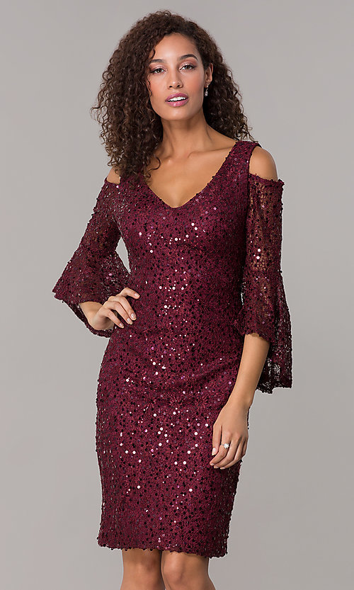 Image of sequin-lace short v-neck 3/4-sleeve party dress. Style: MO-21664 Front Image