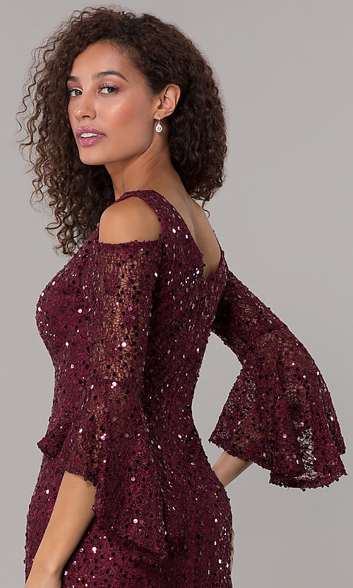 Image of sequin-lace short v-neck 3/4-sleeve party dress. Style: MO-21664 Detail Image 2