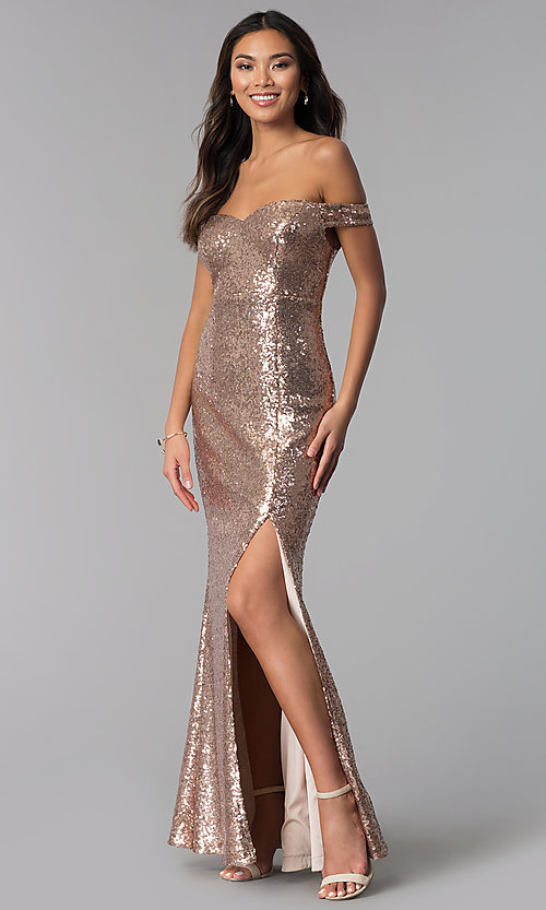 Formal Long Off The Shoulder Sequin Dress Promgirl
